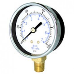 "PIC Gauges 101D-254B-10 - 2 1/2"" dry only 1/4"" LM steel case brass internals & connection utility gauge with chrome bezel"