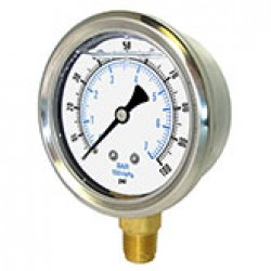 "PIC Gauges 201D-204A - 2"" dry/fillable 1/4"" LM stainless steel case brass internals & connection pressure gauge"
