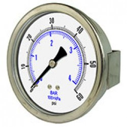 "PIC Gauges 3032D-204B - 2"" dry/fillable 1/4"" CBM all stainless steel pressure gauge with u-clamp style panel mount"