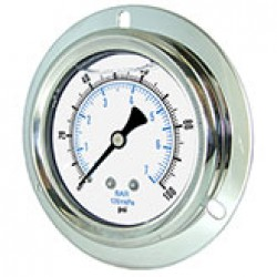 """PIC Gauges 204L-208M - 2"""" LF 1/8"""" CBM stainless steel case brass internals & connection pressure gauge with front flange style panel mount"""