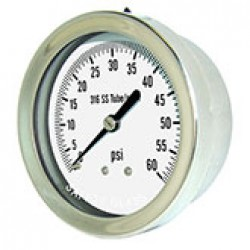 "PIC Gauges 312D-254D - 2 1/2"" dry/fillable 1/4"" LBM all stainless steel pressure gauge with removable bezel"