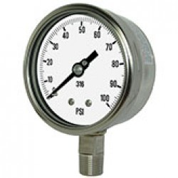 "PIC GAUGES 4001-2LCE PROCESS PRESSURE GAUGE, 4"" DIAL, 30/0/100 PSI, 1/2"" LOWER MOUNT, STAINLESS STEEL CASE, 316SS INTERNALS, REMOVABLE BEZEL, DRY/FILLABLE, WELDED CONNECTION"