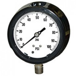 "PIC GAUGES 4501-2LB PROCESS PRESSURE GAUGE, 4 1/2"" DIAL, 0/15 PSI, 1/2"" LOWER MOUNT, PHENOLIC SAFETY CASE, 316SS INTERNALS, DRY/FILLABLE"
