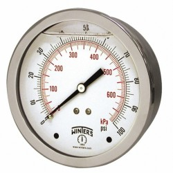 Winters - 2 Inch Dial, 1/8 Inch, 0 to 100 Scale Range Pressure Gauge PFQ2977