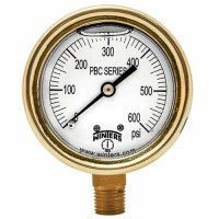 "Winters Instruments PBC024 4"" FORGED BRASS CASE, 1/4"" BOTTOM, 0-6000 PSI/KPA PBC FORGED BRASS CASE PRESSURE GAUGE"