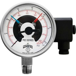 """Winters Instruments PEC0200 PEC 4'' SS/SS, 30"""" HG VAC/KPA, 1/2'' NPT BTM, 2 x SPST CONTACTS PREMIUM STAINLESS STEEL PRESSURE GAUGE WITH ELECTRICAL CONTACTS"""